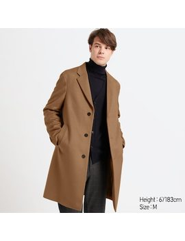 Men Wool Cashmere Blend Chesterfield Coat (6) by Uniqlo