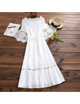 8380# 2018 Summer New Women Fashion Literary Short Sleeved O Neck Cotton Embroidered Maxi Dress Casual Dress Female Vestidos by Wish