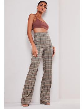 Tall Brown Check Co Ord Wide Leg Pants by Missguided