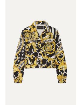 Cropped Printed Denim Jacket by Versace