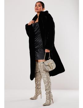 Petite Premium Black Faux Fur Belted Coat by Missguided