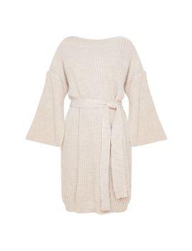 Stone Knitted Tie Waist Split Sleeve Jumper Dress by Prettylittlething