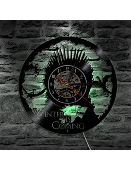 1 Piece Vinyl Clock Game Of Thrones Led Wall Lamp Atmosphere Lp Vintage Silhouette Record Handmade Gift Cool Interior Decor Art by Wish