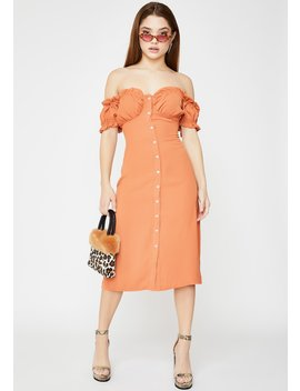 Off The Shoulder Midi Dress by Glamorous