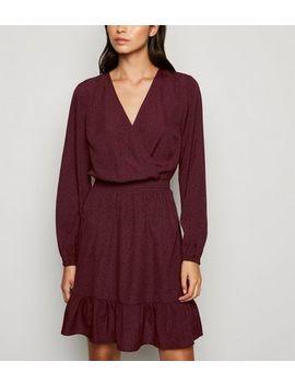 Burgundy Spot Frill Wrap Dress by New Look