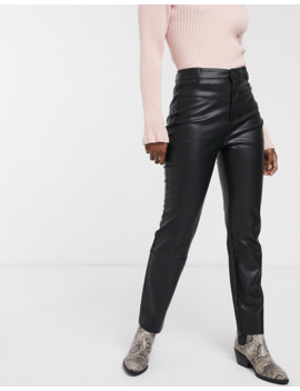 Pull&Amp;Bear Faux Leather Trousers In Black by Pull&Bear