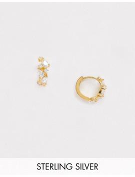 Astrid &Amp; Miyu Sterling Silver 18 K Gold Plated Cubic Zirconia Crystal Asymmetric Huggie Hoop Earrings by Astrid & Miyu