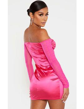 Hot Pink Satin V Bar Mesh Sleeve Bodycon Dress by Prettylittlething