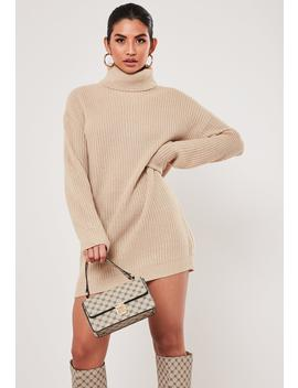 Stone Roll Neck Knitted Dress by Missguided