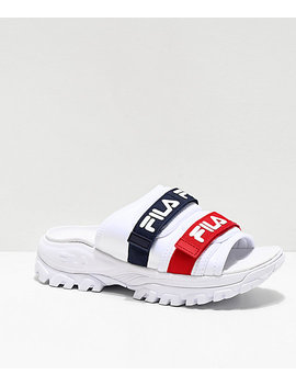 Fila Outdoor Red, White & Blue Slide Sandals by Fila