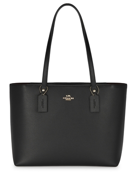 Central Black Grained Leather Tote by Coach