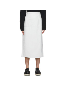White Long Leather Skirt by Ports 1961