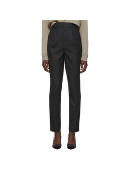 Black Wool Striped Trousers by Saint Laurent