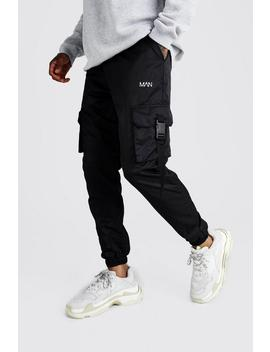 Official Man Shell Buckle Joggers by Boohoo