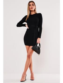 Black Rib Long Sleeve Knitted Mini Dress by Missguided