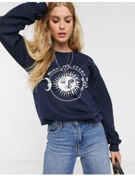Topshop – Celestial – Sweatshirt Mit Grafik In Marine by Asos
