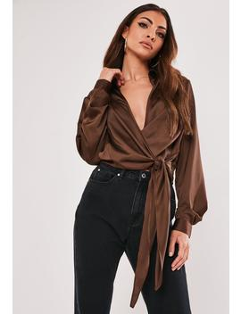 Tall Brown Satin Wrap Plunge Blouse by Missguided