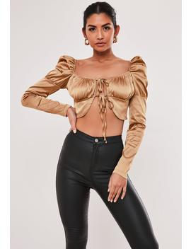 Bronze Satin Puff Sleeve Milkmaid Blouse by Missguided