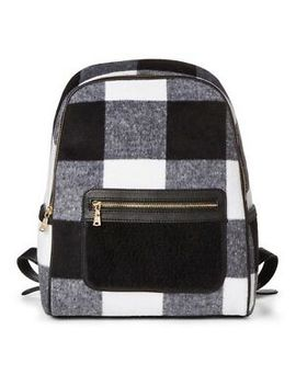 Adam Lippes X Target Faux Shearling Backpack Handbag Black & White Plaid by Adam Lippes For Target