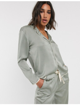 Topshop – Satin Pyjamahemd In Salbei by Asos
