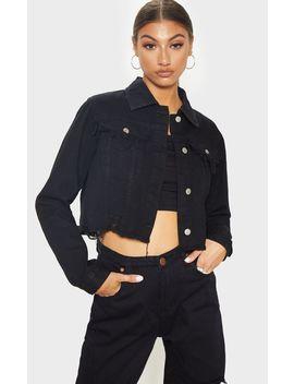Tall Black Cropped Denim Jacket by Prettylittlething