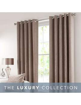 Chenille Taupe Eyelet Curtains by Dunelm