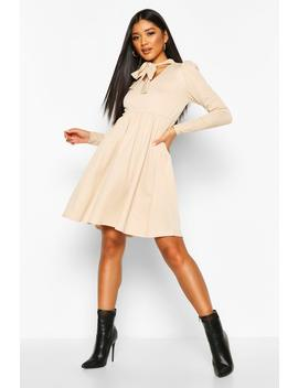 Bow Neck Smock Dress by Boohoo