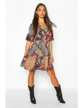 Paisley Print Flute Sleeve Skater Dress by Boohoo