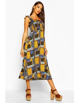 Woven Patch Work Print Shirred Sundress by Boohoo