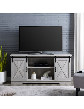 "Manor Park Modern Farmhouse Sliding Barn Door Tv Stand For Tv's Up To 64""   Stone Grey by Manor Park"