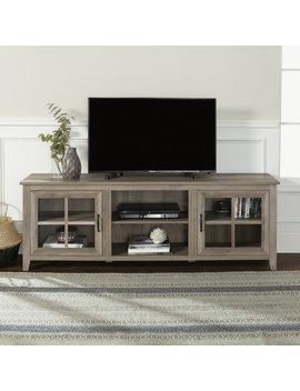 "Manor Park Modern Farmhouse Tv Stand With Window Pane Doors For Tv's Up To 78""   Grey Wash by Manor Park"