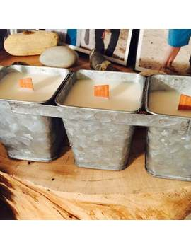 Triple Galvanized Tin Container Candle With Wood Handle, Farmhouse Tin Candle, Rustic Decor, Farmhouse Decor, Country Scented Candles by Etsy