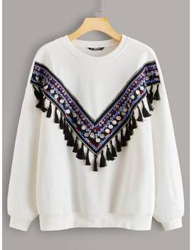 Shein Tassel Detail Tribal Tape Pullover by Shein