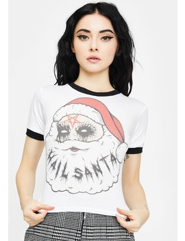 Hail Santa Graphic Baby Tee by Vera's Eyecandy