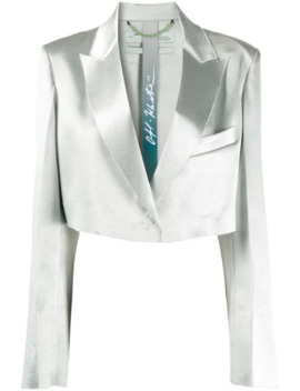 Single Breasted Cropped Satin Blazer by Off White