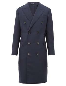 Mohair Blend Gauze Double Breasted Overcoat by Lanvin