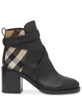 Vintage Check Panel Ankle Boots by Burberry
