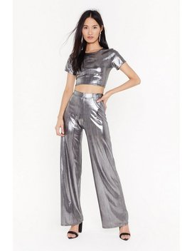 Remember The Shine Metallic Crop Top And Wide Leg Pant Set by Nasty Gal