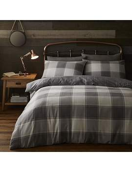 Hugh Reversible 100% Brushed Cotton Check Duvet Cover And Pillowcase Set by Dunelm