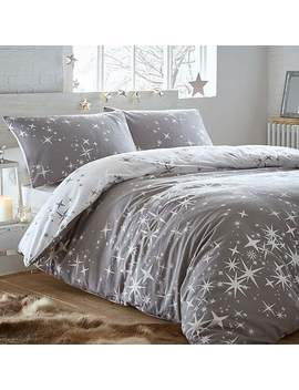 Portfolio Home Galaxy Grey Stars 100% Brushed Cotton Duvet Cover And Pillowcase Set by Dunelm