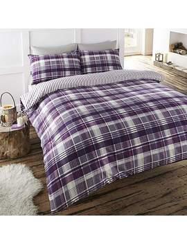 Portfolio Home Angus Plum Check 100% Brushed Cotton Duvet Cover And Pillowcase Set by Dunelm