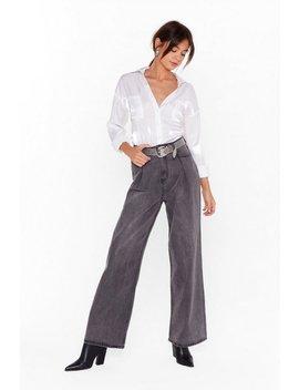Let's Take A Wide Leg Denim Jeans by Nasty Gal