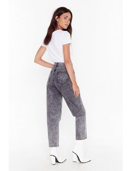 Be Back Moon Embroided Mom Jeans by Nasty Gal
