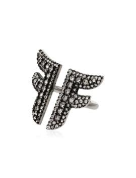 Flying F Crystal Embellished Logo Ring by Fendi