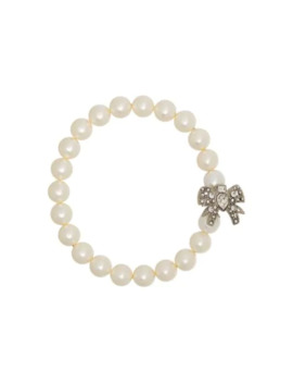 Crystal Bow Pearl Bracelet by Miu Miu