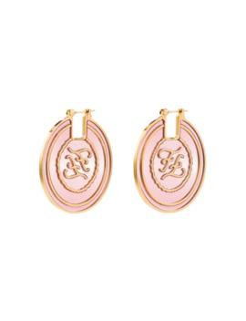 Ff Gold Tone Hoop Earrings by Fendi