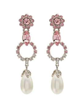 Crystal Embellished Drop Earrings by Miu Miu