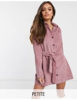 Boohoo Petite Exclusive Belted Cord Dress With Button Through In Blush by Boohoo