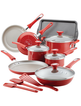 Rachael Ray Get Cooking! 15  Piece Aluminum Nonstick Cookware Set, Red by Rachael Ray