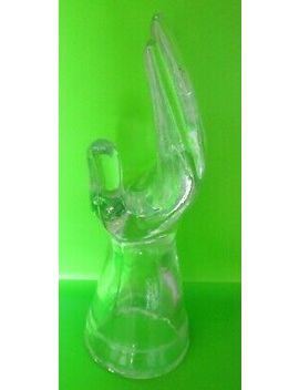 "Vintage Clear Glass Hand Jewelry Ring Model Holder Mannequin Art Deco 8"" by Ebay Seller"